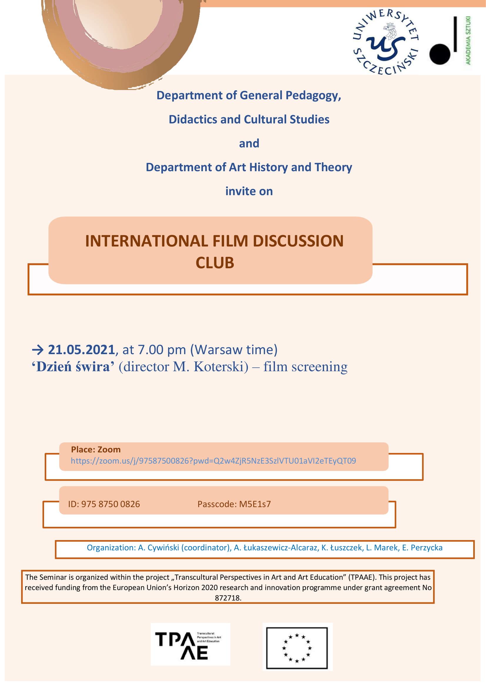 Kolejne spotkanie w ramach  Międzynarodowego Dyskusyjnego Klubu Filmowego